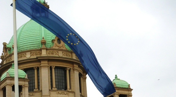 The flag of the European Union in front of the Serbian Parliament.
