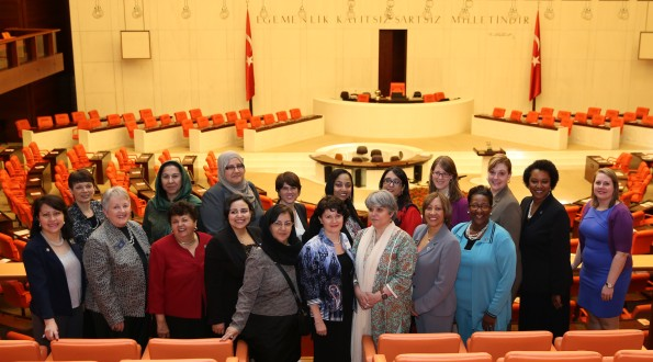US women legislators and women parliamentarians from Afghanistan, Pakistan, Morocco and Tunisia at the Grand National Assembly of Turkey, May 28, 2013.