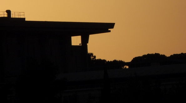Knesset at Dusk: Silhouette of the Israeli Parliament Building in Jerusalem.