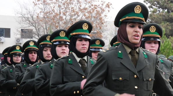 Fourteen Afghan National Army (ANA) women march into their graduation, Nov. 2011