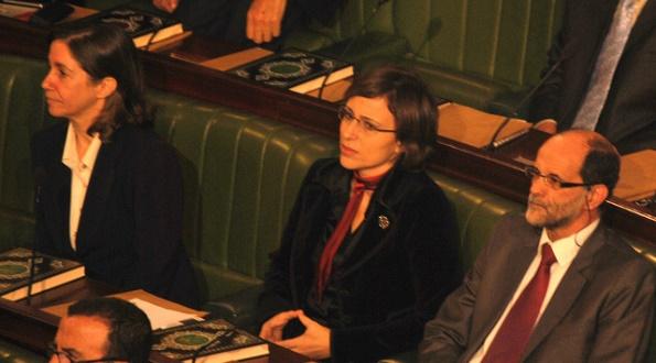 First Session of the Tunisian Constituent Assembly, November 2011, Maya Jribi (PDP) and Lobna Jeribi (Ettakatol)