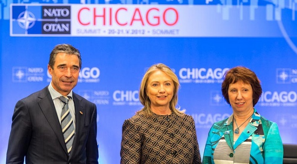 U.S. Secretary of State Hillary Rodham Clinton participates in the US-NATO-EU trilateral meeting with European Union High Representative Catherine Ashton, right, and NATO Secretary General Anders Fogh Rasmussen, left, in Chicago, Illinois, on May 20, 2012.