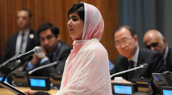 Malala Yousafzai addresses youth delegates at the Malala Day celebration and UN Youth Assembly at UNHQ, July 12, 2013.