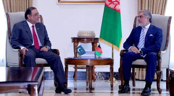 Former Pakistani President Asif Ali Zardari and Afghan Chief Executive Dr Abdullah Abdullah