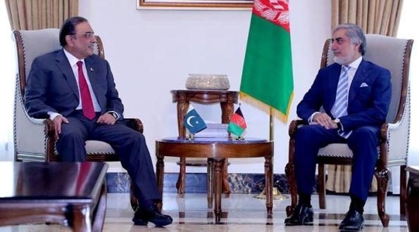 Former Pakistani President Asif Ali Zardari and Afghan Chief Executive Dr Abdullah Abdullah