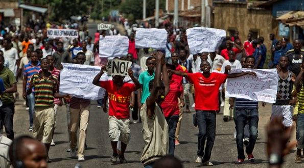 Protest against President Pierre Nkurunziza running for a third term.